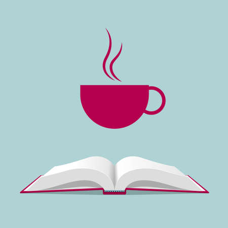 Coffee above an opened book isolated on blue background.