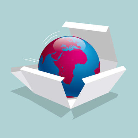 Earth in a box. Isolated on blue background. Ilustrace