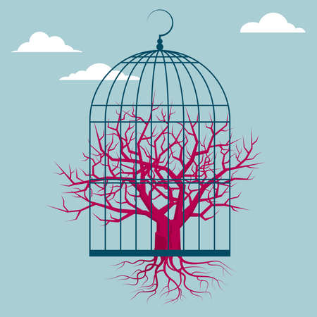 Dried tree in a bird cage. Isolated on blue background.