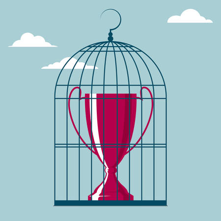 Trophy in a bird cage. Isolated on blue background.