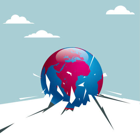 Globe breaking through the ground. Isolated on blue background.