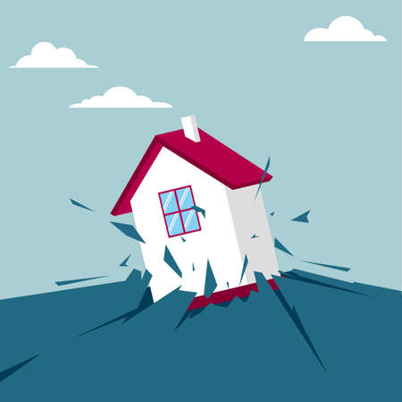 House breaking through the ground. Isolated on blue background.