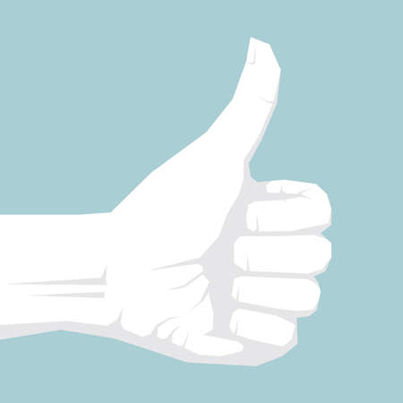 Hand showing thumbs up isolated on blue background.