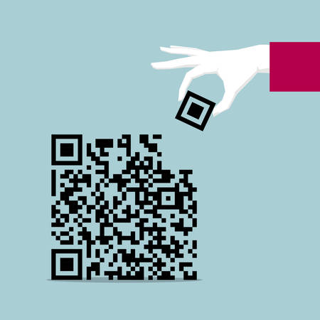 Hand completing QR code isolated on blue background. Illustration