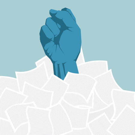The fist broke through the pile of documents. Isolated on blue background. Illustration