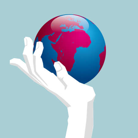 The earth is in the hand. Isolated on blue background. 일러스트