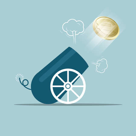 Vector drawn cannon. Isolated on blue background. Illustration