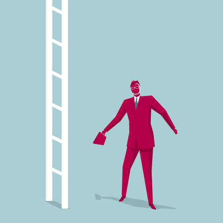 Businessman stops before the ladder. Isolated on blue background. Illustration