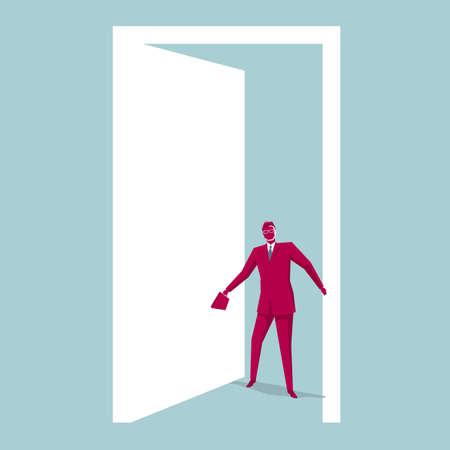 L'uomo d'affari è entrato dalla porta. Lo sfondo è blu. Vettoriali