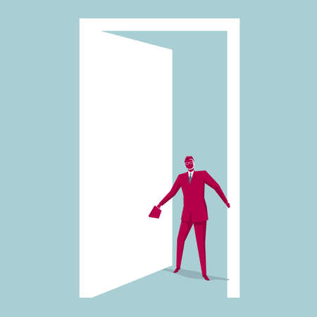 The businessman entered the door. Background is blue . 向量圖像