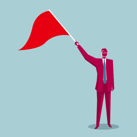 Businessman holding a signal flag. Isolated on blue background.