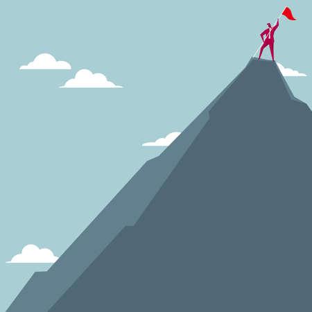 Der Geschäftsmann besetzte den Gipfel des Berges. Auf blauem Hintergrund isoliert.