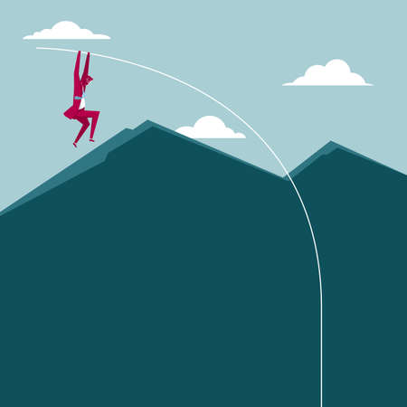 Businessman pole vault. Cross the mountain. The clouds are in the sky. Illustration