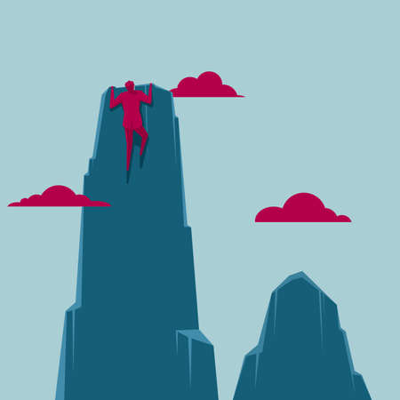 Businessman climbs up the mountain. Isolated on blue background. Illustration