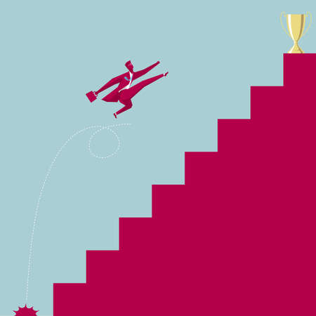 The businessman gets the trophy jumps over the ladder. Isolated on blue background. Illustration
