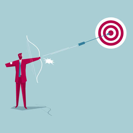 The businessman archery. Isolated on blue background. Vetores