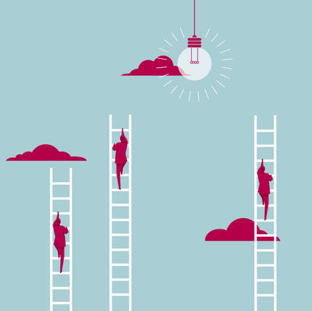 Businessman climbs the ladder. Isolated on blue background. Vectores