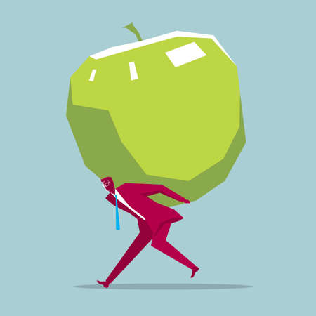 Businessman carrying an apple. Isolated on blue background.