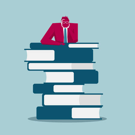 Businessman leaning on the books. Isolated on blue background 向量圖像