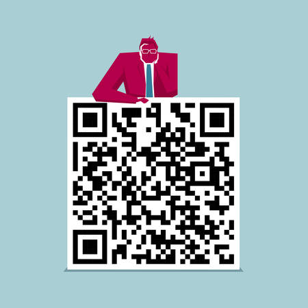 He businessman leans on the QR code. The background is blue.