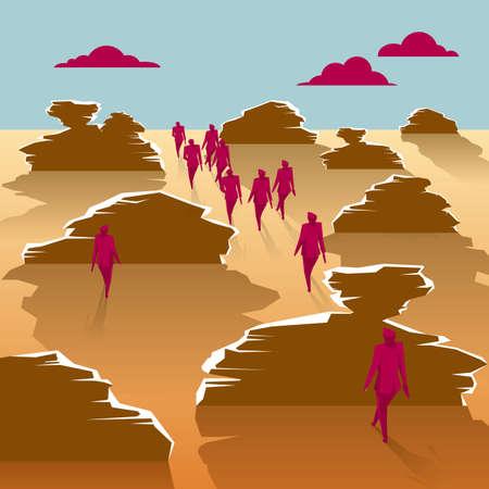 A group of businessmen walks in the desert. 向量圖像