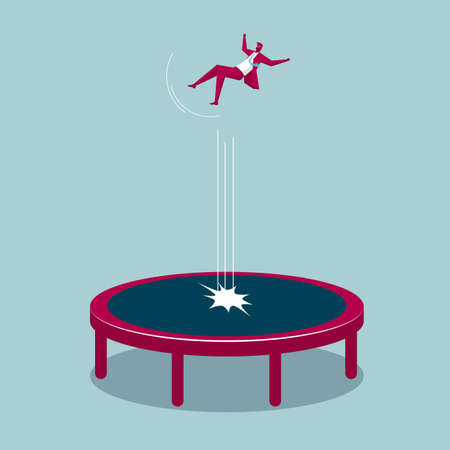 Businessman jumping on a trampoline isolated on blue background.