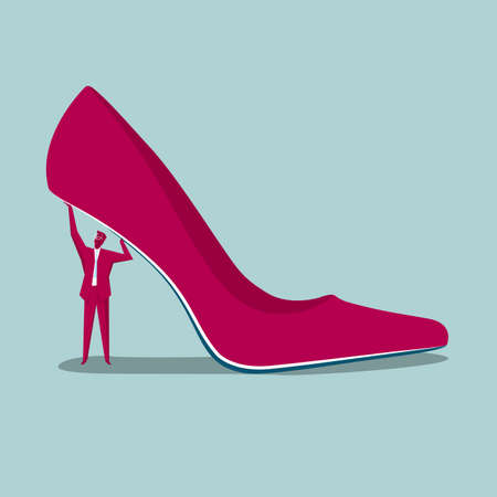 Businessman lifting high heeled shoe isolated on blue background. 矢量图像