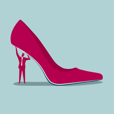 Businessman lifting high heeled shoe isolated on blue background. Illustration