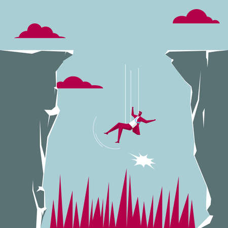 Businessman falling off a cliff isolated on blue background. Çizim