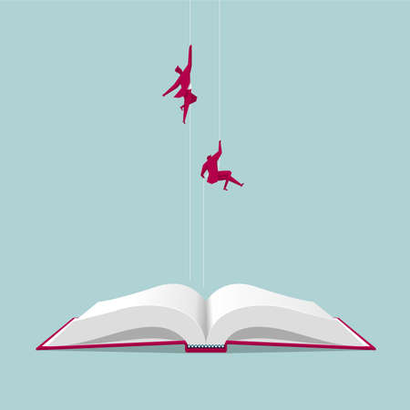 Businessmen flying in mid air from opened book isolated on blue background.