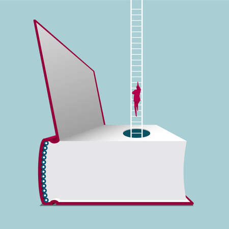 Businessman climbing a ladder out from a book. Isolated on blue background Çizim