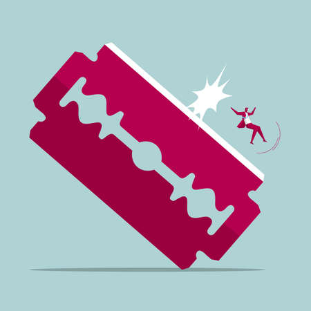 Businessman sliding down a razor blade. Isolated on blue background.