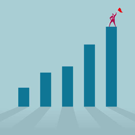 Businessman with flag standing on top of bar chart isolated on blue background.