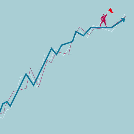 Businessman with flag standing at the top of line chart isolated on blue background.