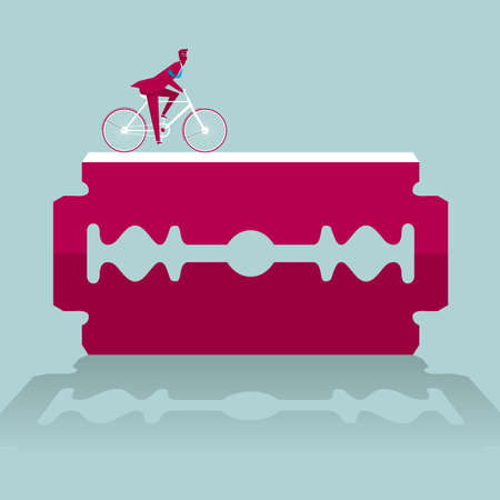Businessman riding a bicycle on a razor blade on blue background Ilustrace