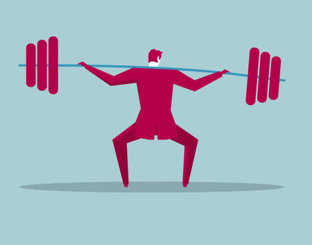 Businessman lifting barbell isolated on blue background.