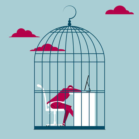 Tired businessman on work desk trapped in a bird cage in the sky