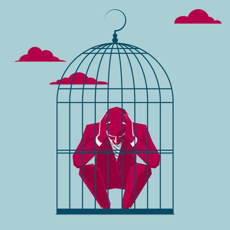Tired businessman trapped in a bird cage in the sky