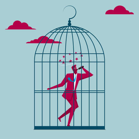 Drunk businessman trapped in a bird cage in the sky Ilustração