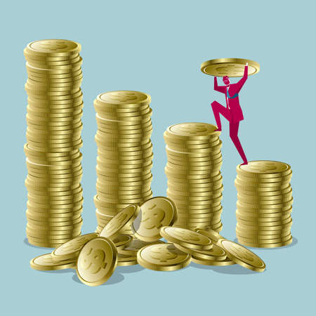 Businessman carrying and stacking coins on blue background.
