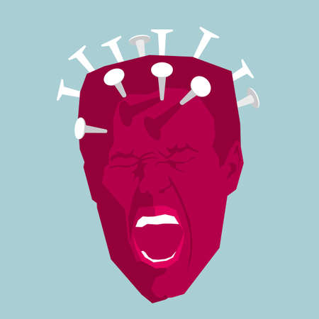 Concept of headache with nails on mans head isolated on blue background.
