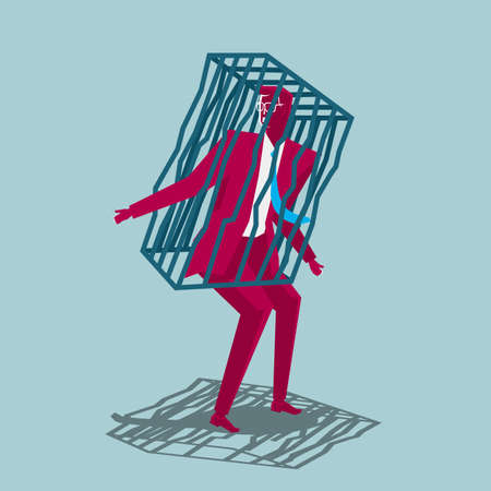 Businessman trapped in a cage isolated on blue background.