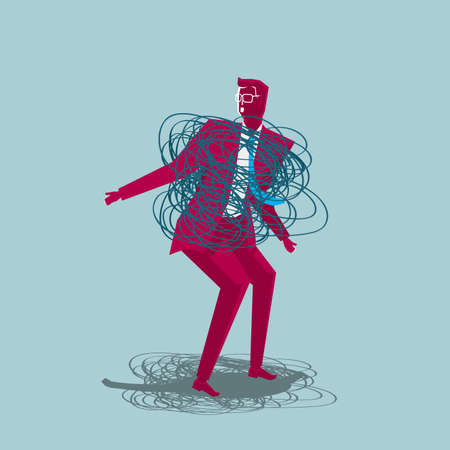 Businessman surrounded by tangled rope isolated on blue background.