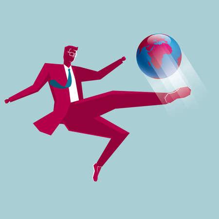 Businessman kicking a globe isolated on blue background.