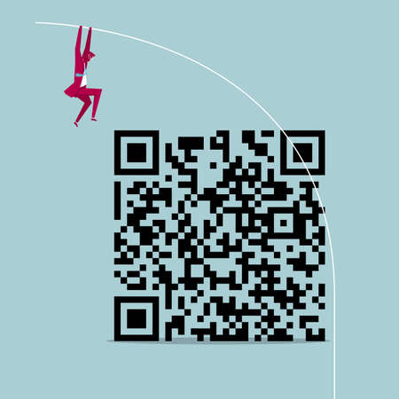Businessman pole jumping over QR code isolated on blue background Stock Illustratie