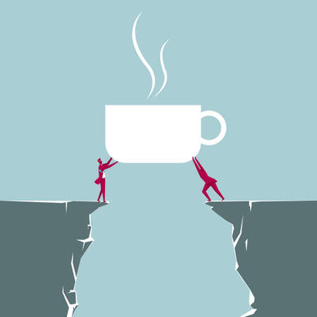 Two businessmen lifting a huge coffee cup from opposite cliffs isolated on blue background.