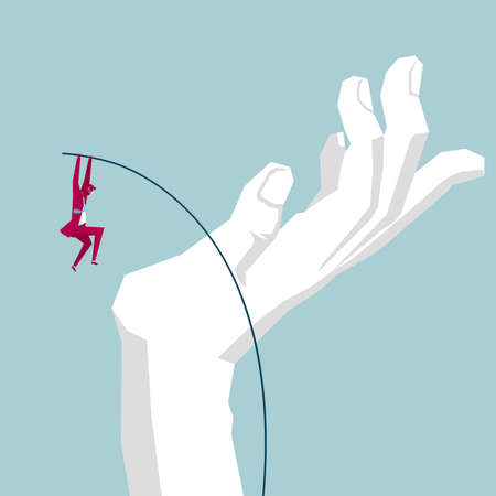 Businessman jumping onto the palm of a hand using a pole 向量圖像