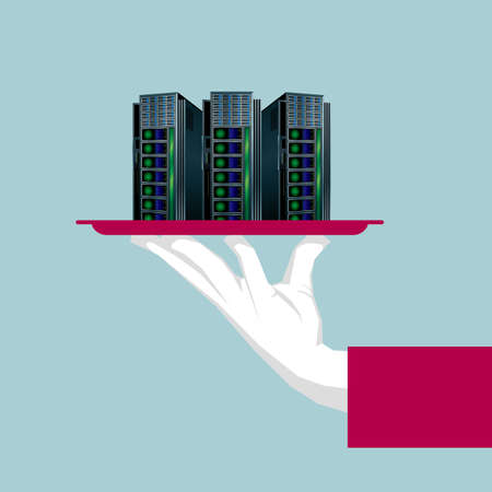 The supercomputer is in the tray. Isolated on blue background. Illustration