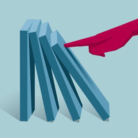 Domino effect design. Isolated on blue background.