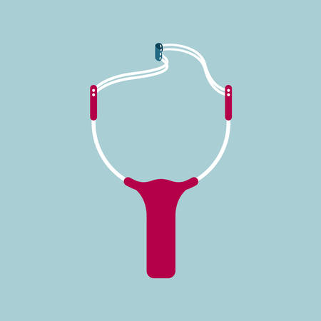Vector drawn slingshot. Isolated on blue background.